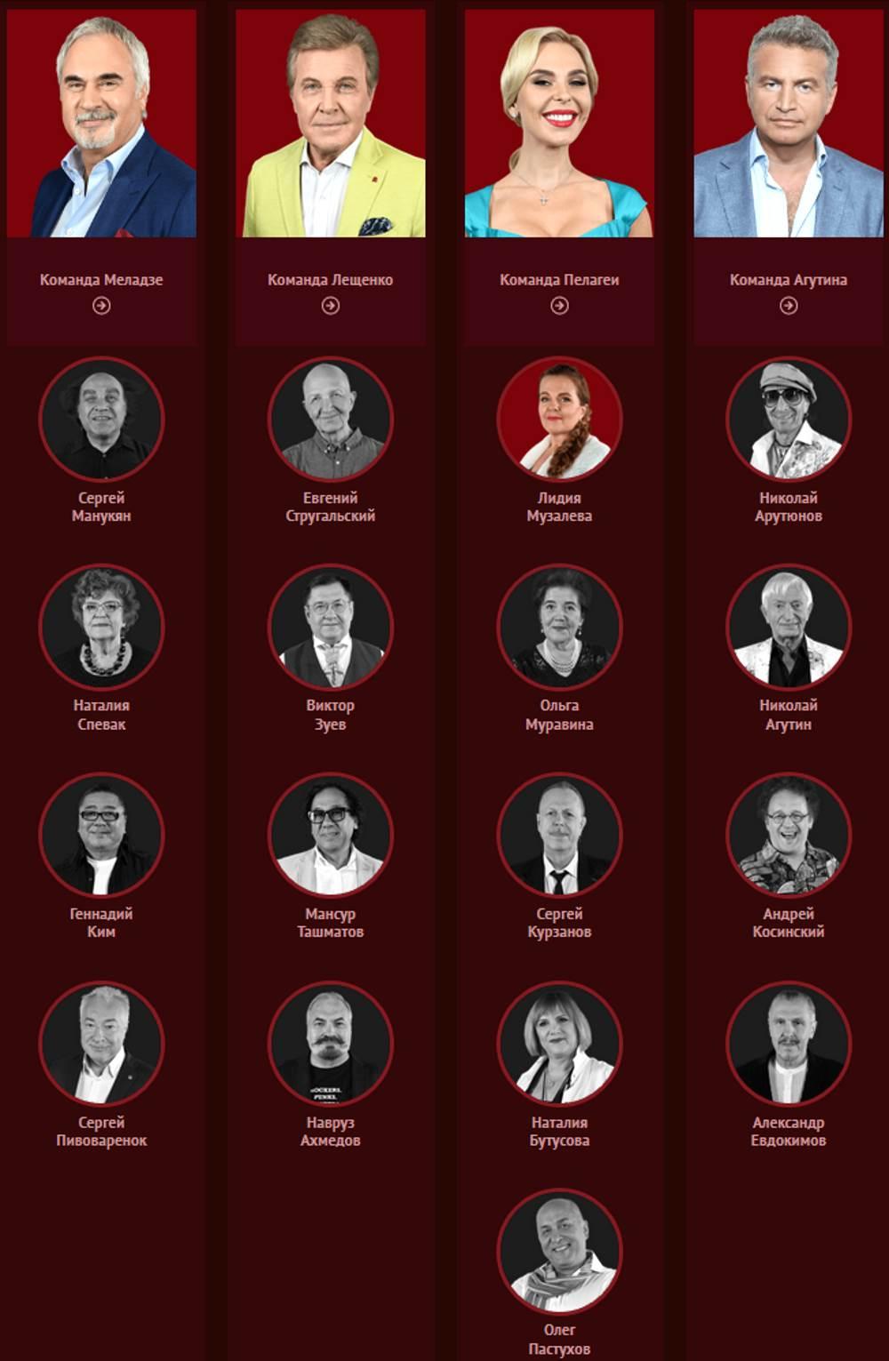 """Участники 1 сезона """"Голос 60+"""" (2018) на Первом канале"""
